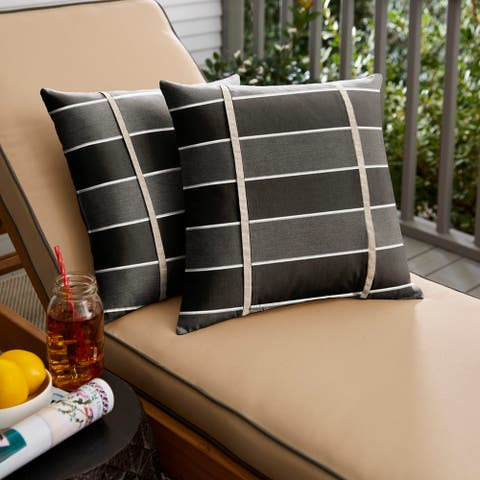 Humble + Haute Sunbrella Peyton Granite and Cast Silver Small Flange Indoor/ Outdoor Square Pillow, Set of 2