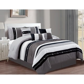 Megan Luxury 7-Piece Pintuck Comforter Set with Embroidery