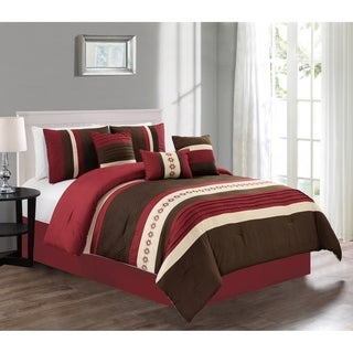 Amy Luxury 7-piece Pin Tuck Embroidered Comforter Set