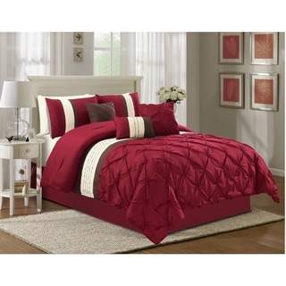 Olivia 7-piece Pinch Pleat Embroidered Comforter Set