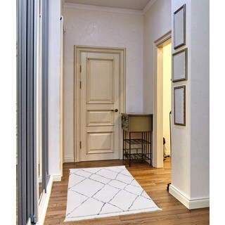 Carly Frieze Collection Whitel runner rug (3' x 5')