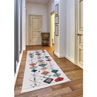 Rue Frieze Collection White runner rug - multi