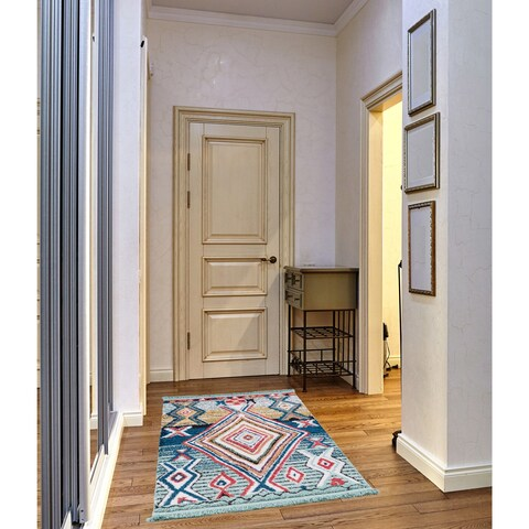 Ria Frieze Collection Blue runner rug - 3' x 5'