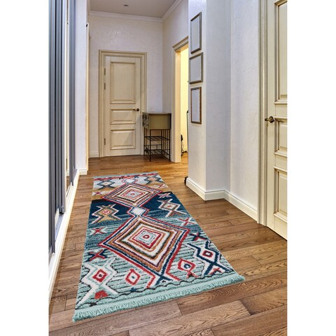 Ria Frieze Collection Blue runner rug - 2' x 8'