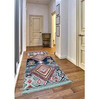Ria Frieze Collection Blue runner rug (2' x 8')