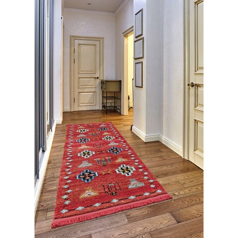 Rudy Frieze Collection Red runner rug - 2' x 8'