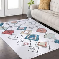Rue Frieze Collection White area rug (8' x 10') - multi