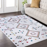Rosy Frieze Collection White area rug (8' x 10') - multi