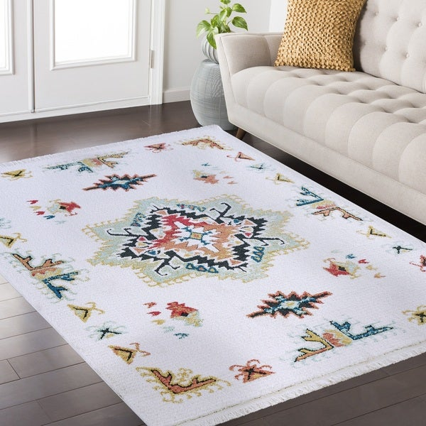 River Frieze Collection White Area Rug 8 X27 X