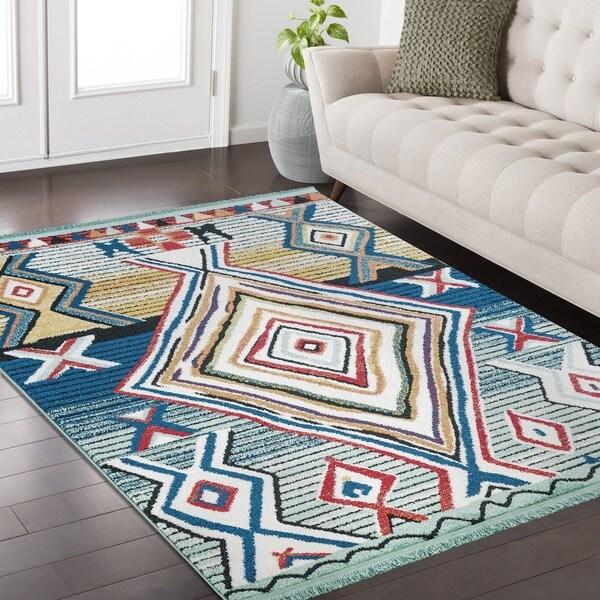 Ria Frieze Collection Blue area rug (8' x 10') - 7'10 x 10'2