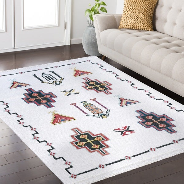 Remi Frieze Collection White area rug - 7'10 x 10'2