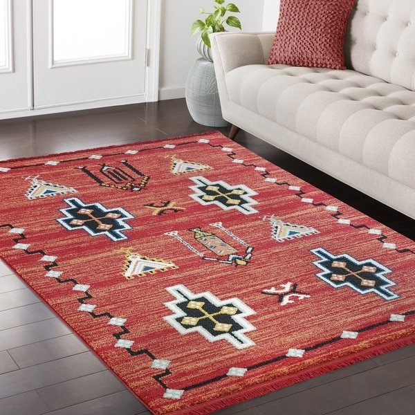 Shop Rudy Frieze Collection Red area rug (6\' x 9\') - Free Shipping ...
