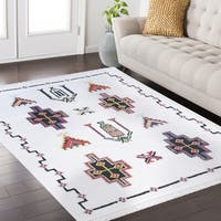 Remi Frieze Collection White area rug (5' x 8')