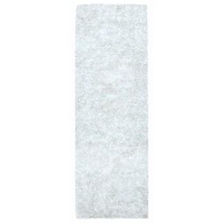 """White Shimmer Shag (2.5'x8') Runner - 2'6"""" x 8'"""
