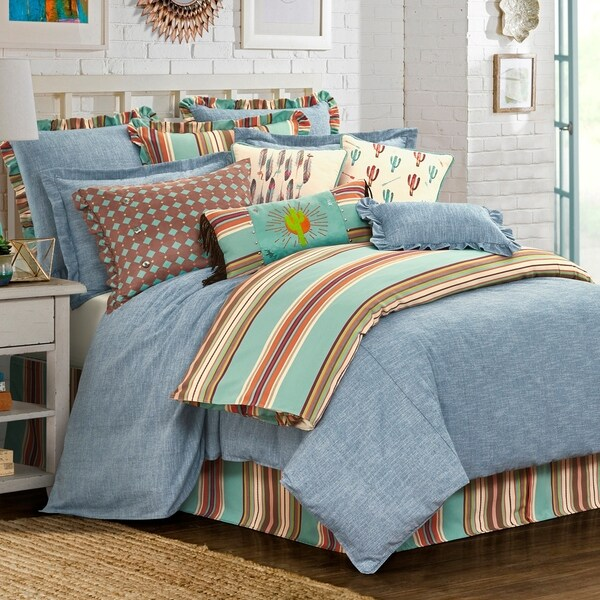 Three Piece Chambray Comforter Set, Oversize Queen