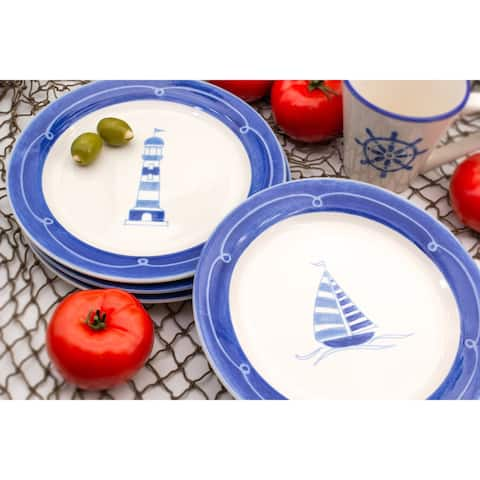 Euro Ceramica Ahoy Stoneware Assorted Salad Plates (Set of 4)