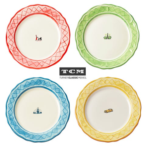 Euro Ceramica An American In Paris Assorted Dinner Plates (Set of 4)