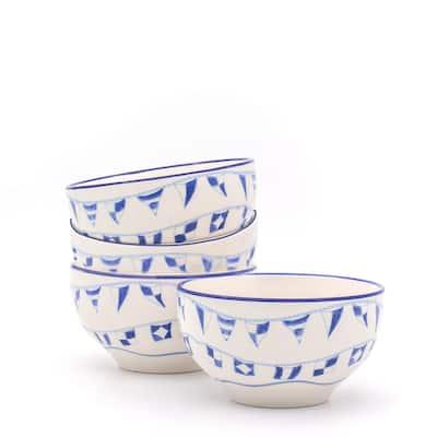 Euro Ceramica AhoyStoneware Assorted Cereal Bowls (Set of 4)