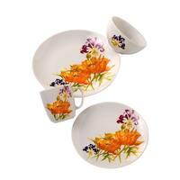 Euro Ceramica Tiger Lilly 16-piece Dinnerware Set (Service for 4)