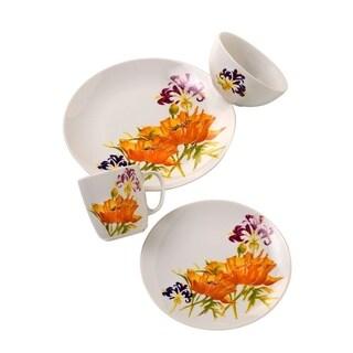 Euro Ceramica Tiger Lilly 16-piece Dinnerware Set, Service for 4