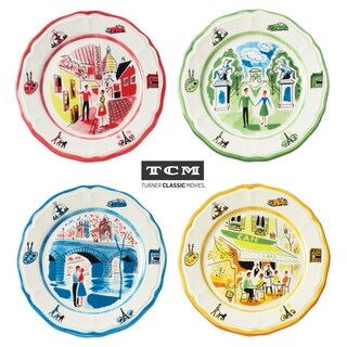 Euro Ceramica An American In Paris Assorted Salad Plates (Set of 4)