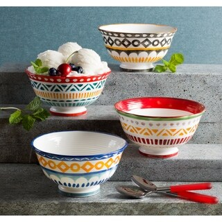 Euro Ceramica Amalfi 20 oz Assorted Soup Bowls (Set of 4)