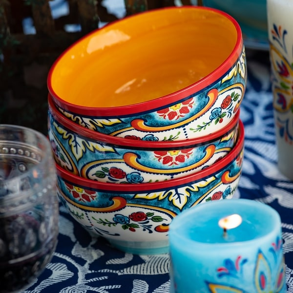 Euro Ceramica Zanzibar Ceramic Cereal Bowls (Set of 4)