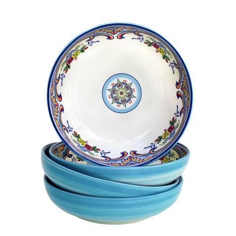 Euro Ceramica Zanzibar Multicolor 40oz. Pasta Bowls (Set of 4)
