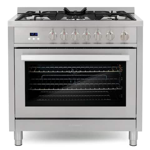 Cosmo 36 in. 3.8 cu. ft. Single Oven Gas Range with 5 Burner Cooktop and Heavy Duty Cast Iron Grates in Stainless Steel