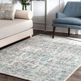 "nuLOOM Contemporary Moroccan Faded Floral Border Light Blue Runner Rug (2' 8"" x 8')"