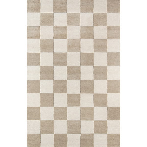 Novogratz by Momeni Delmar Taupe/Ivory Check Wool Rug (9' x 12') - 9' x 12'