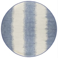 Jagged Blue / Off-White Reversible Cotton Chindi Rug (6'x6')