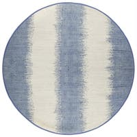 Complex Collection Jagged Blue/Off-white Cotton Reversible Round Chindi Rug (6'0 x 6'0)