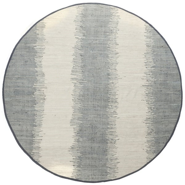 Jagged Grey / Off-White Reversible Cotton Chindi Round Rug (6'x6')