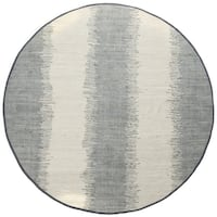 Jagged Grey / Off-White Reversible Cotton Chindi Round Rug (6'x6') - 6' x 6'