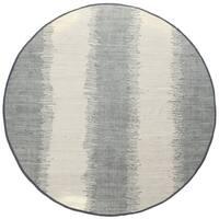 Jagged Grey / Off-White Reversible Cotton Chindi Round Rug (6'x6') - 6' x 6'