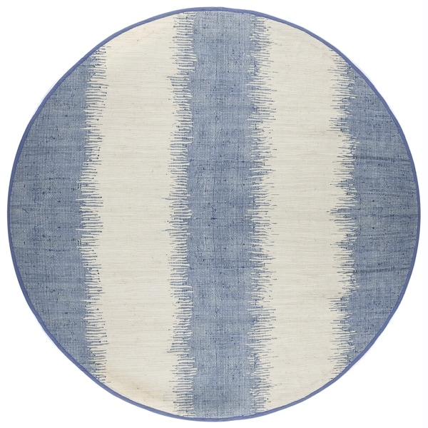 Jagged Blue / Off-White Reversible Cotton Chindi Round Rug (8'x8')