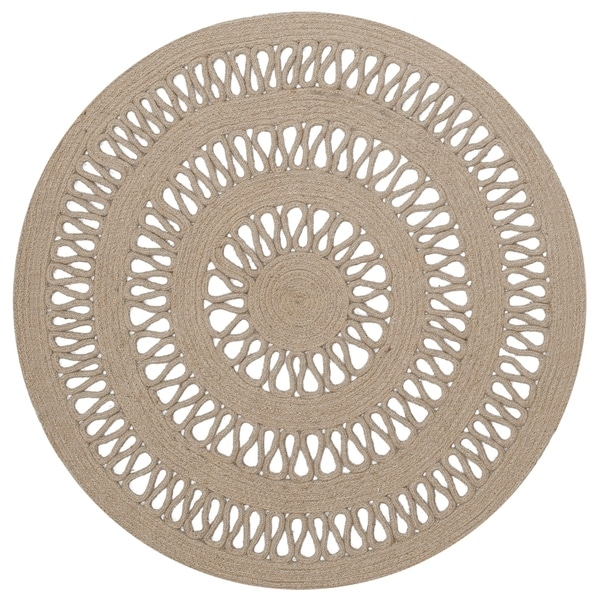 Earth First Jute Loop Stitched Round Rug - 3x3'