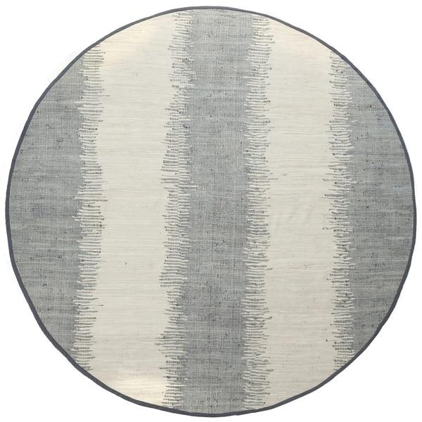 Jagged Grey / Off-White Reversible Cotton Chindi Round Rug (8'x8')