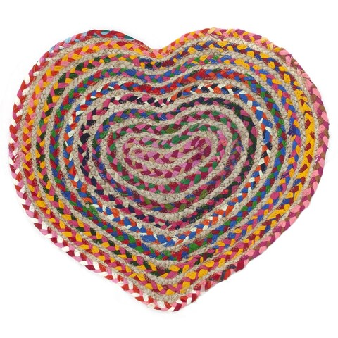 "Brilliant Ribbon / Hemp Heart Racetrack (20""x24"") Rug - 1'8"" x 2'"