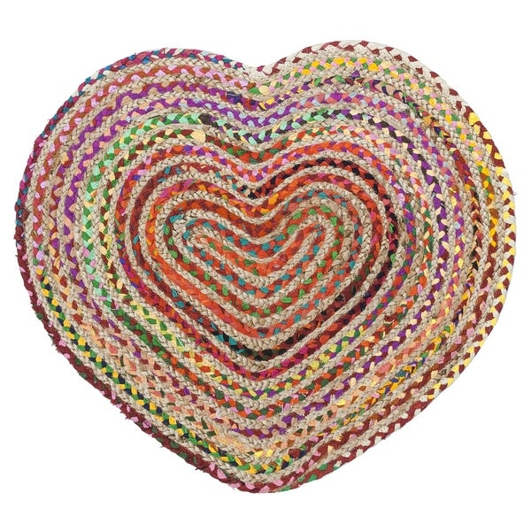 "Brilliant Ribbon / Hemp Heart Racetrack (30""x36"") Rug"