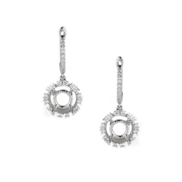 Elegant White Gold Diamond Earring Mountings
