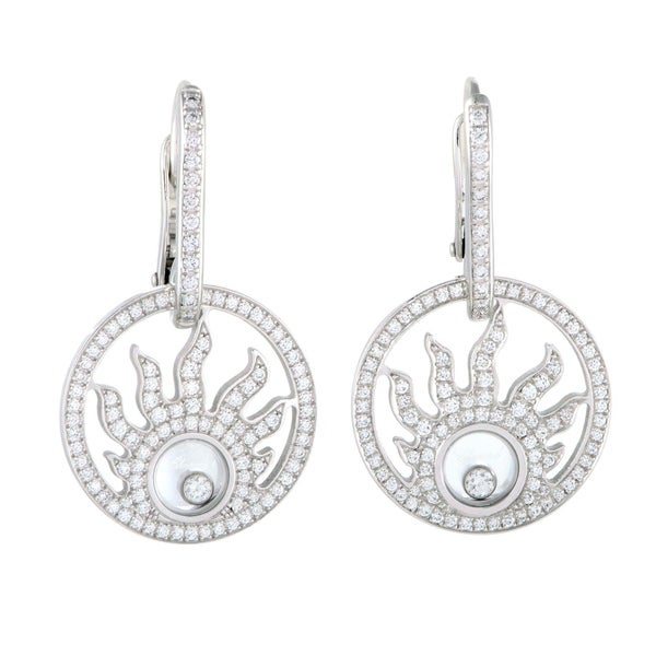 Chopard Happy Diamonds 18k White Gold Superimposed Circle Drop Earrings VyH55K