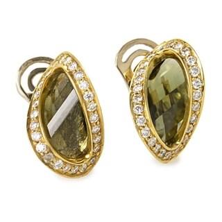 Women's Yellow Gold Diamond & Moldavite Earrings ER8-062058YG