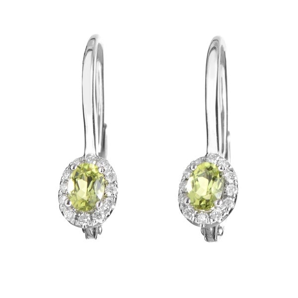 Women X27 S White Gold Diamond Peridot Earrings Seep70741rbzpe