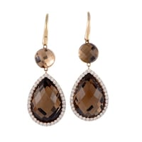 Roberto Coin Tail Women S Rose Gold Diamond And Smoky Quartz Drop Earrings