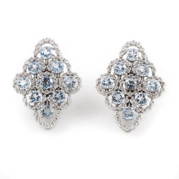 Juliette White Gold Aquamarine Diamond Earrings