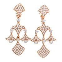 Womens  Rose Gold Full Diamond Pave Chandelier Earrings