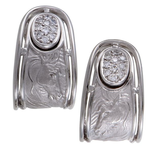 Ronda White Gold Diamond Pave Huggie Earrings Free Shipping Today