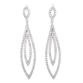 ~1.75ct  White Gold Full Diamond Pave Openwork Dangle Earrings
